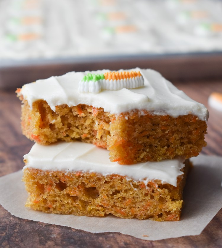 Stack of two Carrot Cake Sheet Cake pieces