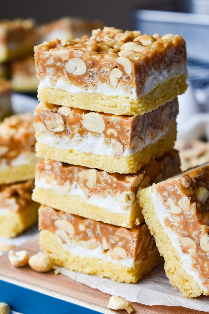 Salted Nut Roll Bars stacked up