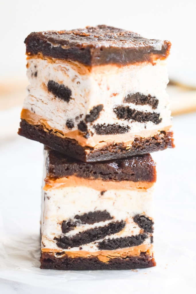 Chocolate Peanut Butter Brownie Sandwiches stacked
