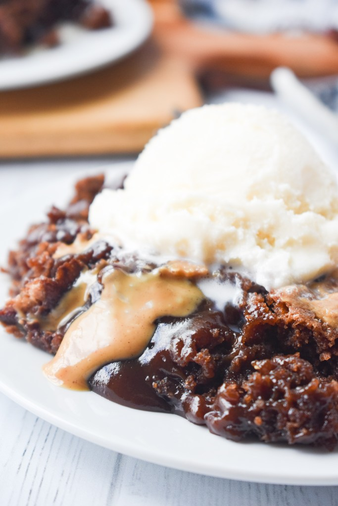 Close up of Chocolate Peanut Butter Cobbler with ice cream on top