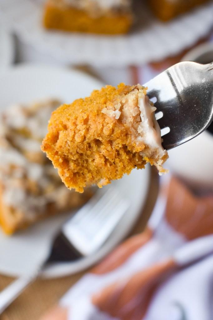Forkful of pumpkin coffee cake