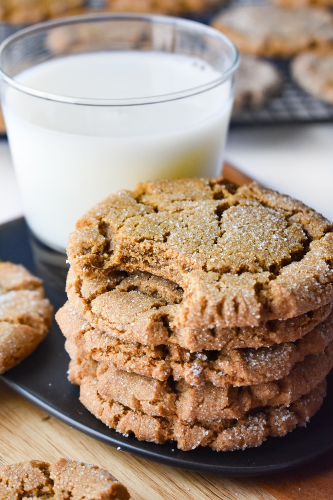 Stack of Molasses Cookies and a glass of milk