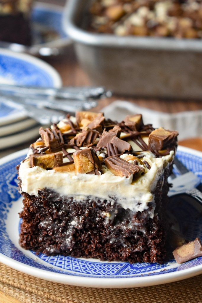 Piece of Chocolate Peanut Butter Poke Cake with peanut butter cups on top