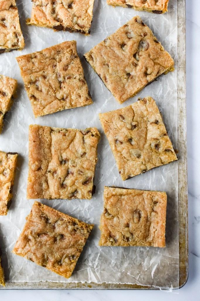 Chocolate Chip Cookie Bars on sheet pan