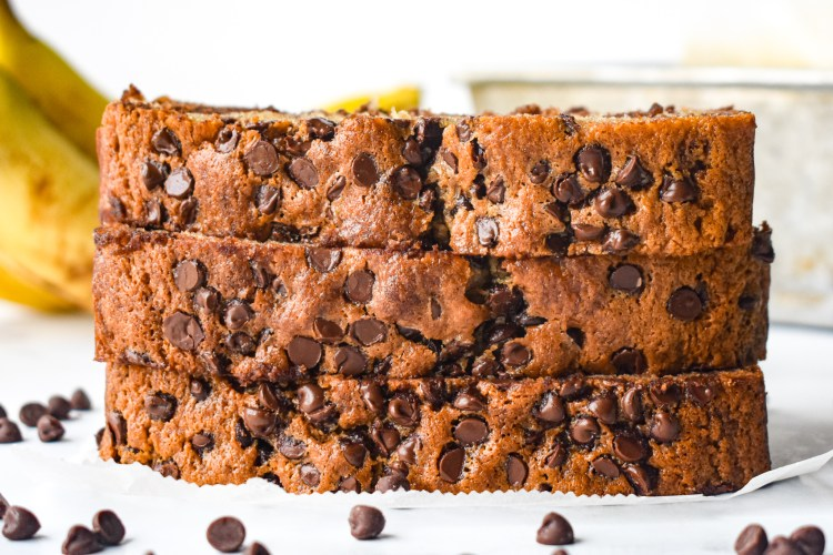 Chocolate Chip Banana Bread slices stacked up