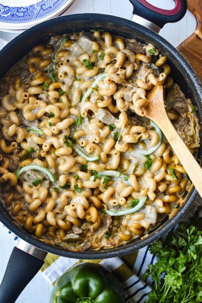 Pan full of philly cheesesteak pasta