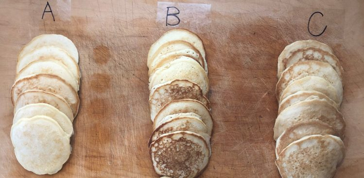 Pancake testing - Stack of A, B, and C varieties