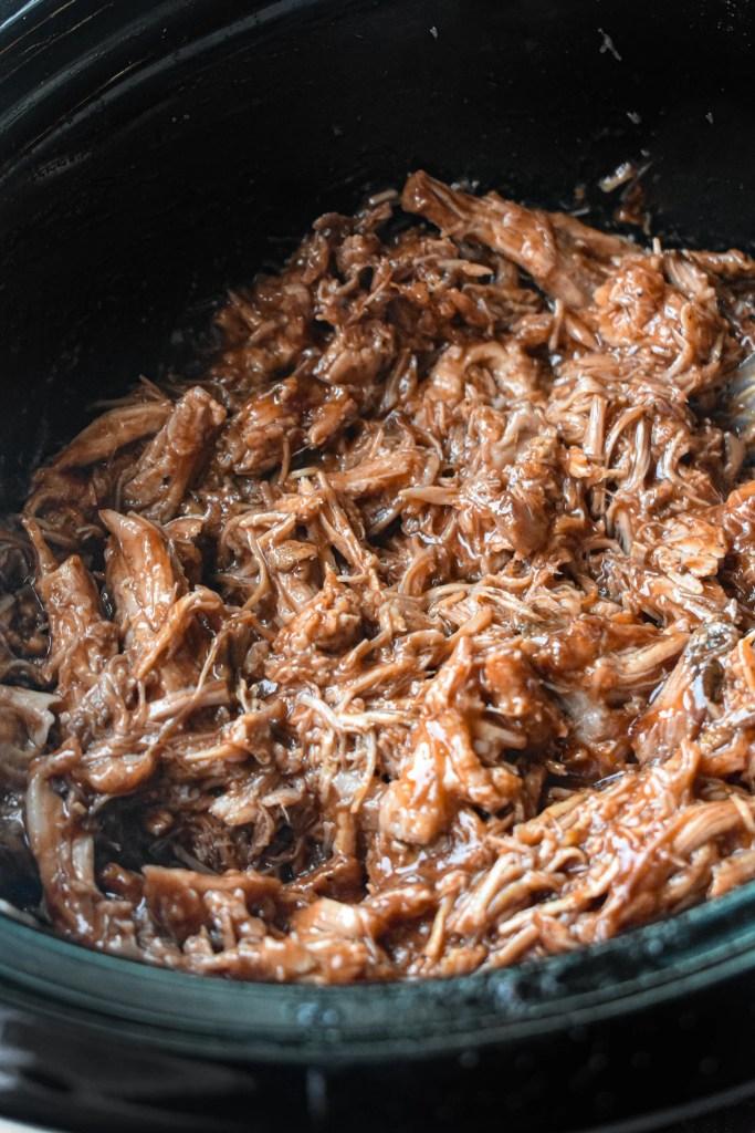 Dr Pepper Pulled Pork in a slow cooker