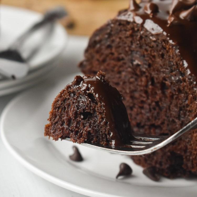 Bite of Moist Chocolate Bundt Cake