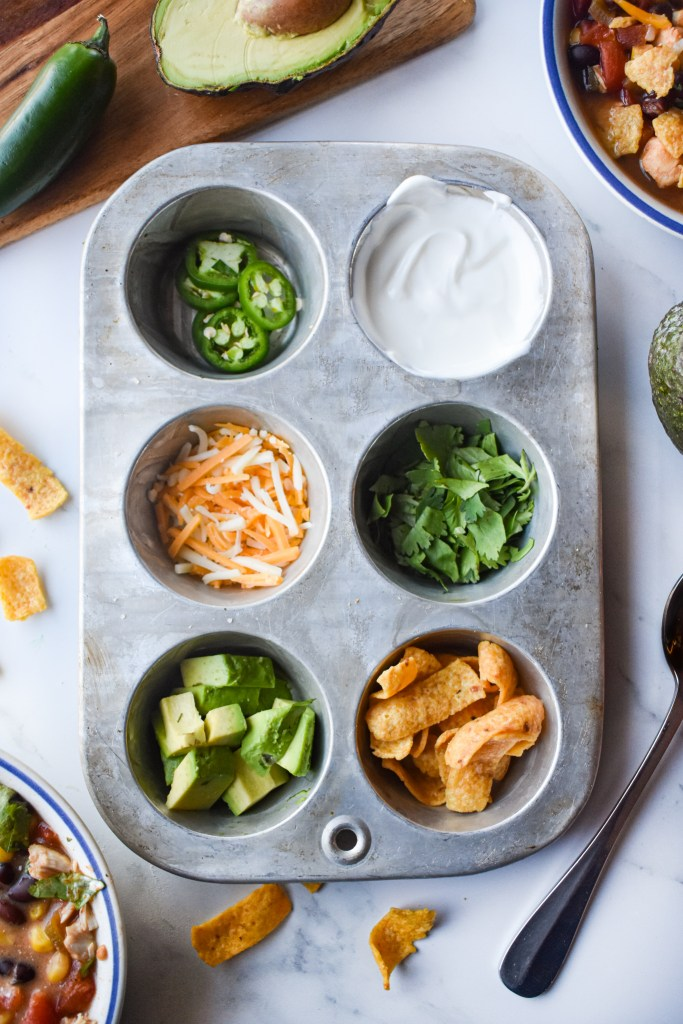 toppings for soup in a muffin tin