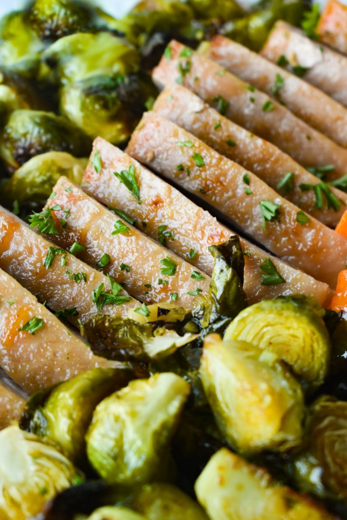Pork Loin slices with brussels sprouts and diced sweet potatoes