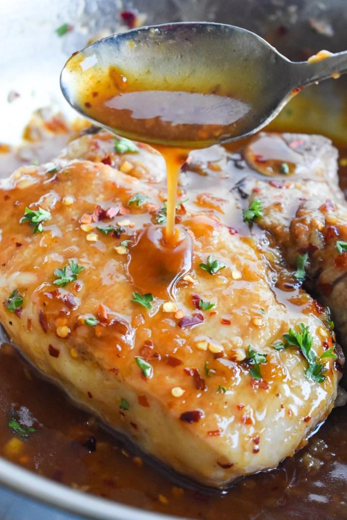 Honey Garlic Pork Chops in a pan