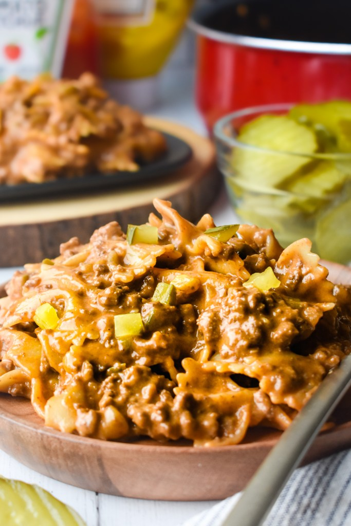 Cheeseburger Pasta Skillet on a plate