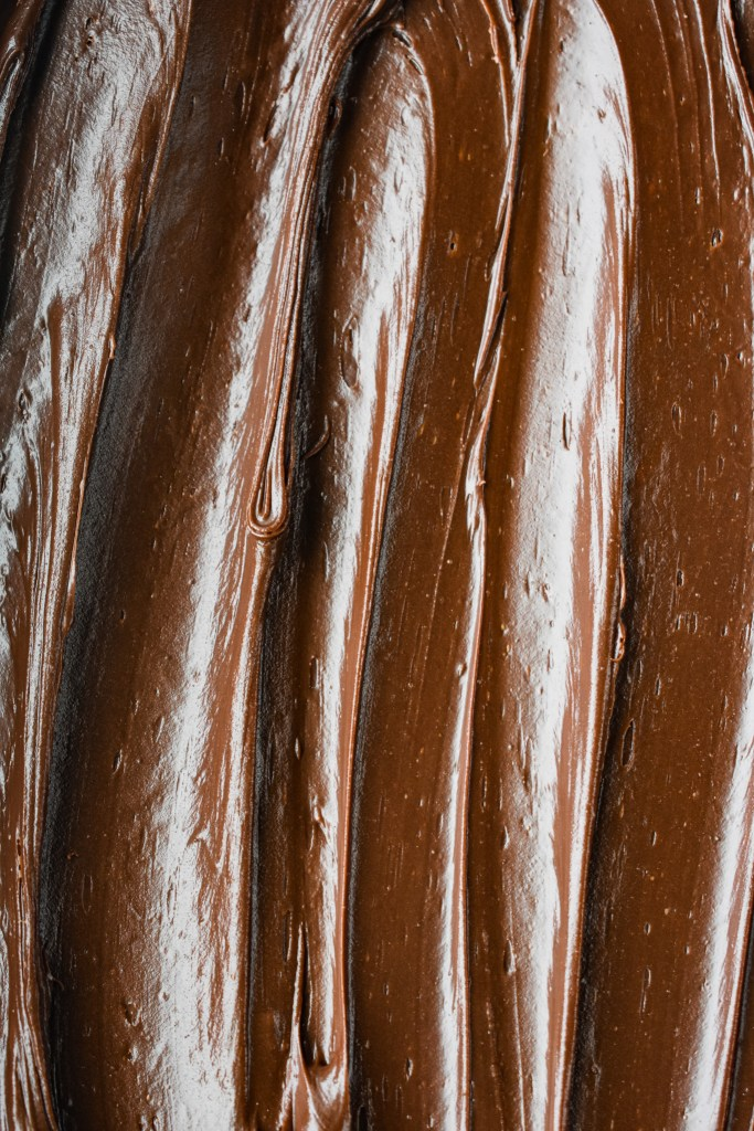Close-up of chocolate frosting