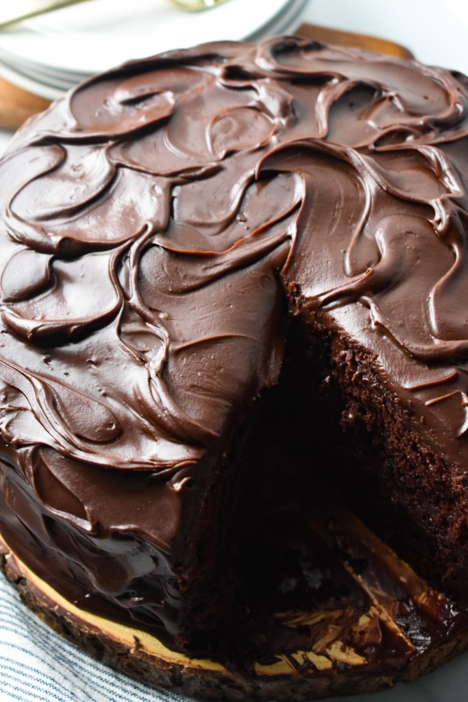 Chocolate Layer Cake with chocolate frosting on a platter