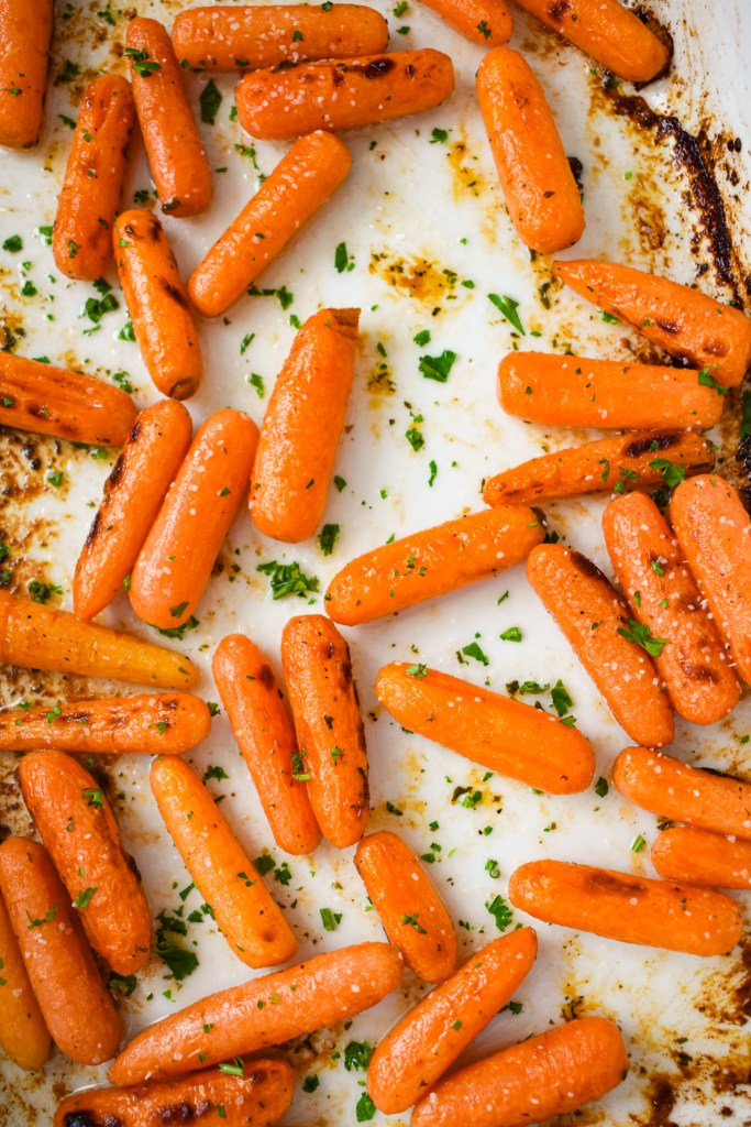 Roasted carrots in a white dish