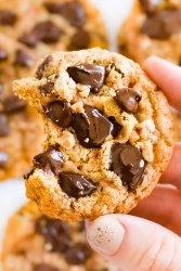 Toffee Chocolate Chip Cookie in a hand