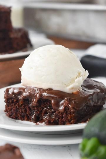 Chocolate Zucchini Cake with ice cream on top