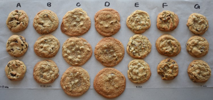 Chocolate Chip Cookie experiment - samples A, B, C, D, E, F and G