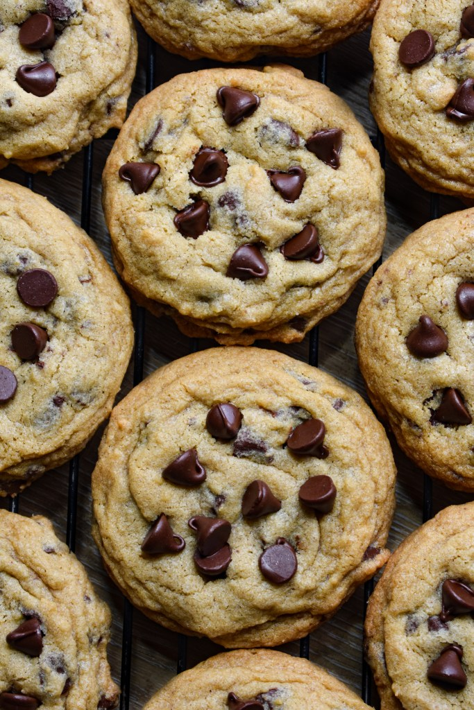 Chocolate chip cookies with extra chocolate chips on top