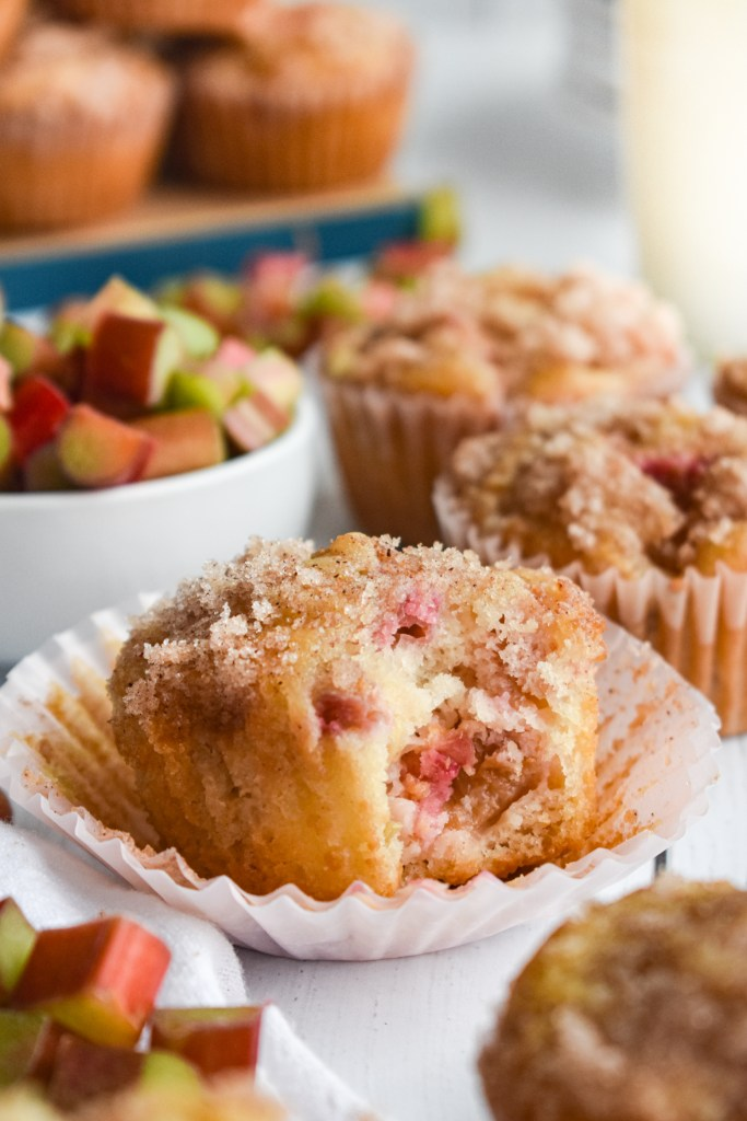 Rhubarb muffin with a bite out of it