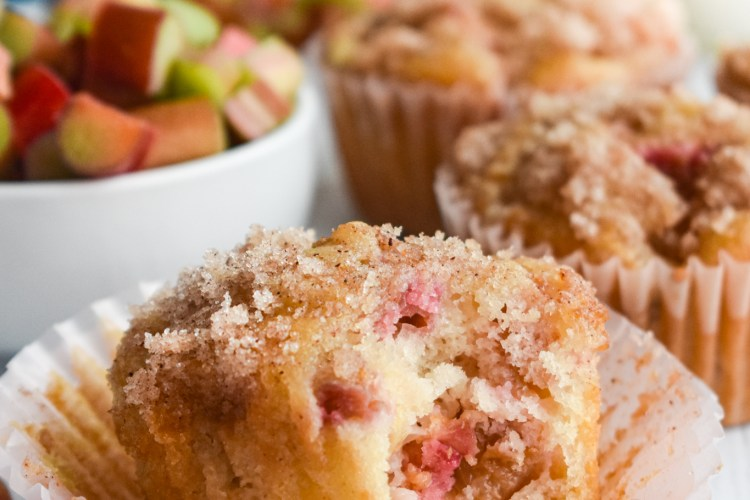 Rhubarb Muffin with a bite taken out of it