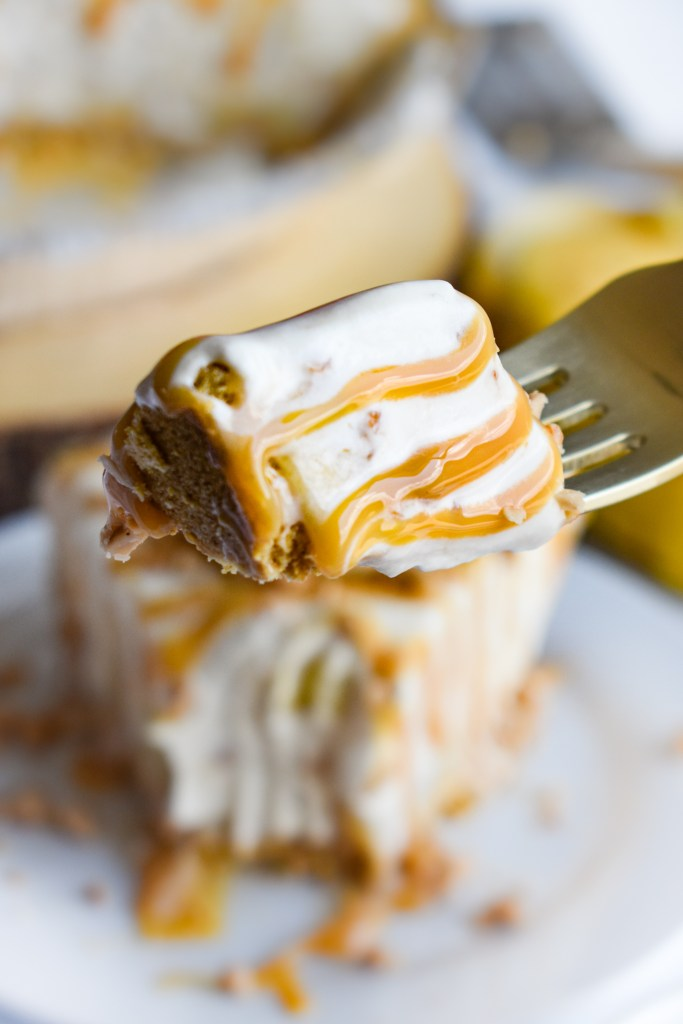 A bite of banoffee ice cream pie on a fork