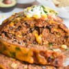 mexican meatloaf with sour cream and parsley on top