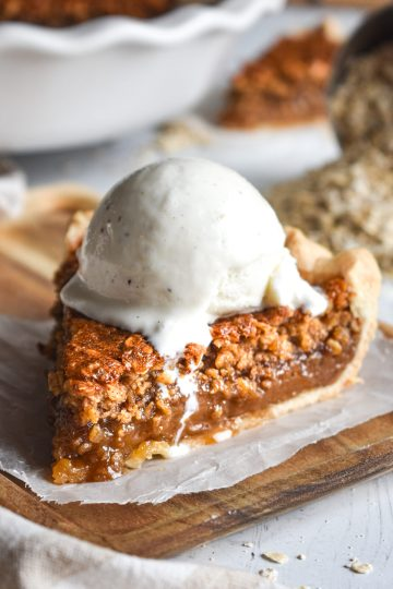 Oatmeal Pie with ice cream on top