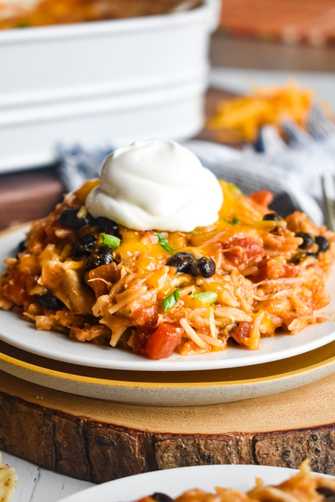Mexican chicken casserole on a white plate