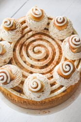 birdseye view of a cinnamon roll cheesecake