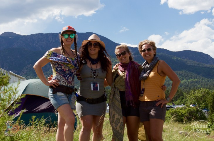 Fans pose at Sonic Bloom 2019 with the Spanish Peaks Mountains as a backdrop