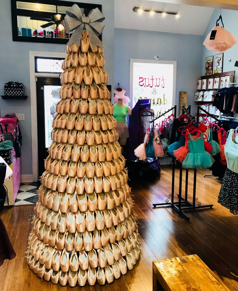 Pointe shoe Christmas tree that the storeowners at Tutus and Dance Shoes constructed from a wire frame and unsold pointe shoes.