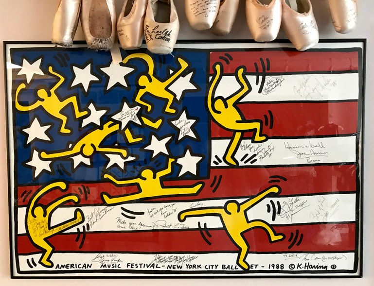 Autographed Keith Haring poster of American flag with dancers. American Musica Festival New York City Ballet, 1988
