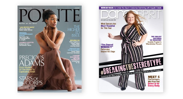 Greater inclusivity in dance: Pointe magazine cover showing Precious Adams, and Dance Spirit cover featuring Amanda LaCount.