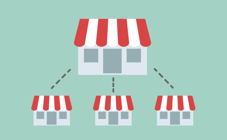 Large house, representing a business, with three little identical houses below it, representing the franchises of this business.