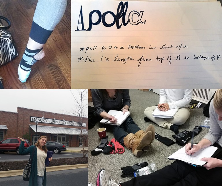 Four images with an early Apolla dance sock prototype, sketches of its logo, testers of the socks filling out survey forms and Kaycee Jones at the Manufacturing Solutions Center in Conover, North Carolina.