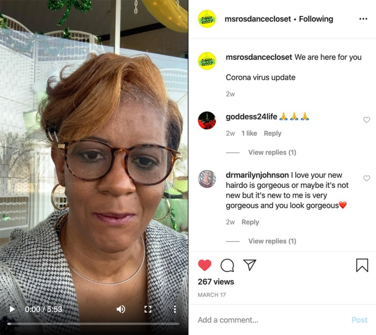 Roshawn Buxton, owner of Ro's Dance Closet, talking to her customers via Instagram.