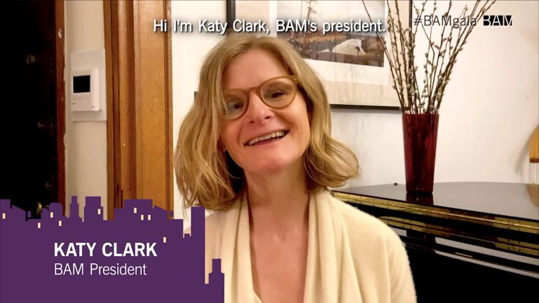 A screengrab of Clark introducing herself during BAM's gala.