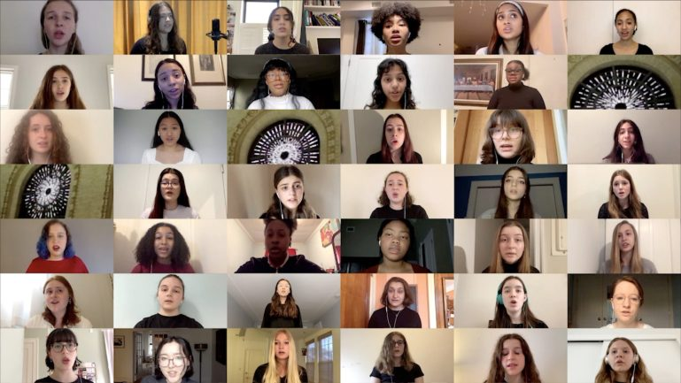 "Around 40 young adults in a ""brady bunch-style"" zoom screengrab"