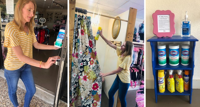 Woman cleaning door handle of store with sanitizing wipes; spraying lysol on fitting room curtain, and the sanitizing station in the store, with various cleaners and hand sanitizer for customers.