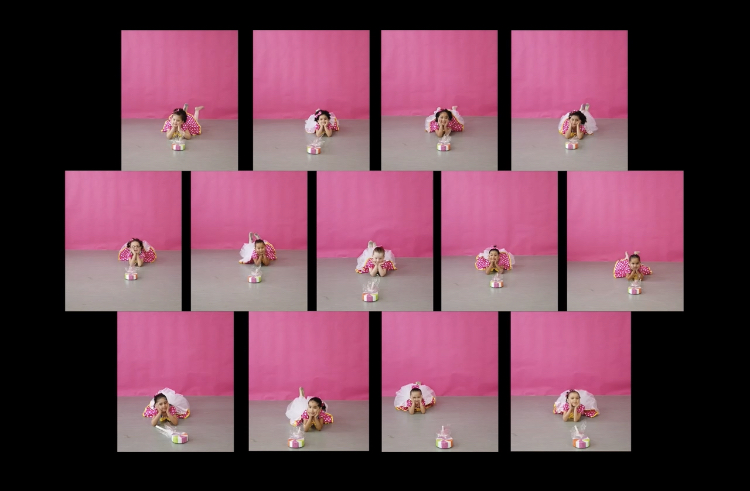 13 images, Brandy Bunch-style, of young students against a pink background striking the same pose—lying on their stomachs with their chins in the hands