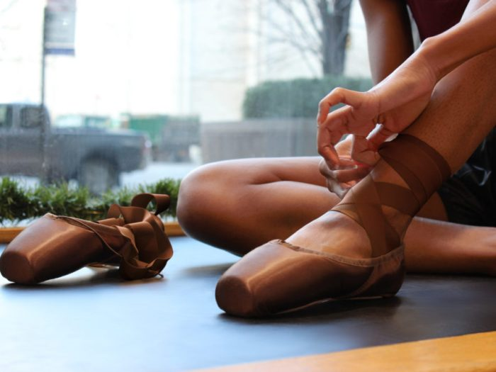 Brown pointe shoes from Bloch, Inc.