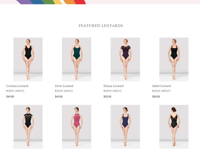 screen grab of leotards on Saratoga Dance, Etc. website