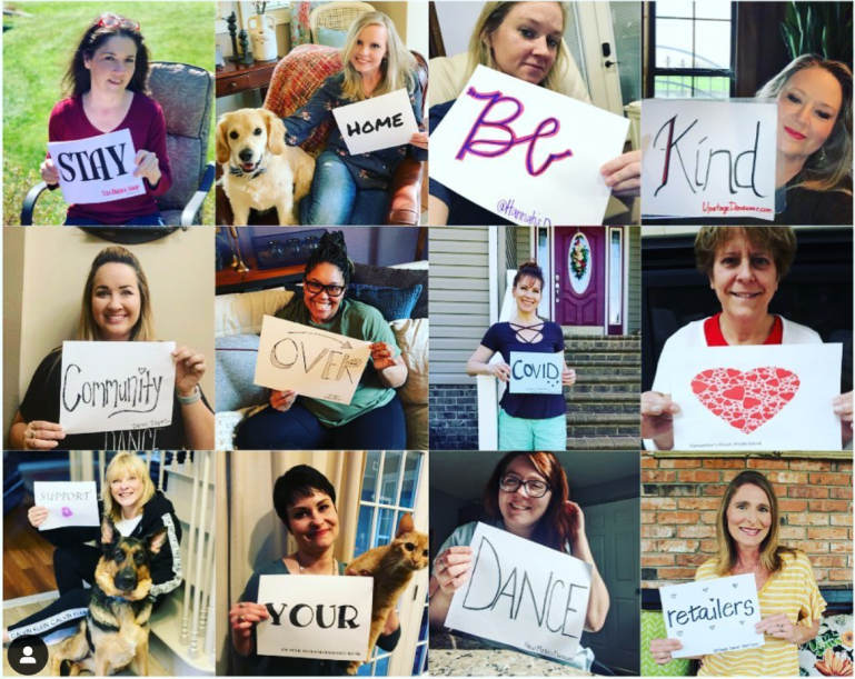 """A collage of women each holding one word on a sign. Together, it reads """"Stay home, be kind, community over COVID, support your dance retailers."""""""