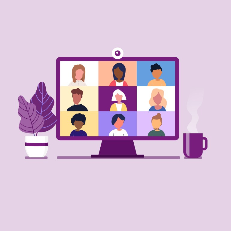 An illustrated computer screen—with a coffee mug and a plant on either side—shows six faces as if on a Zoom call. The illustration is against a light purple background.