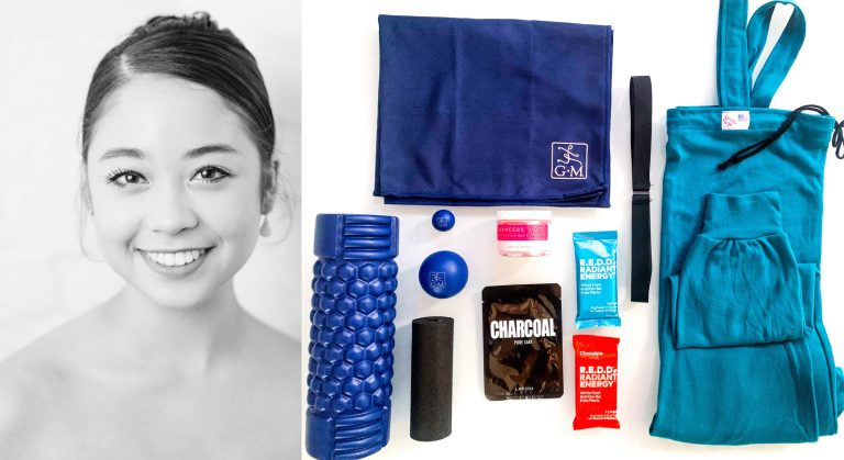 At left, a black and white headshot of Erica Raver, a young Asian woman with her hair in a bun. At right, a shot of products like a foam roller, a face mask, some energy bars and a warm-up jumpsuit.