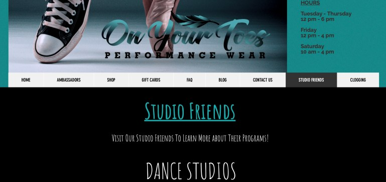 """Page from On Your Toes Performance Wear listing local dance studios, """"Studio Friends."""""""