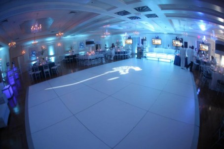bat mitzvah white dance floor with gobo