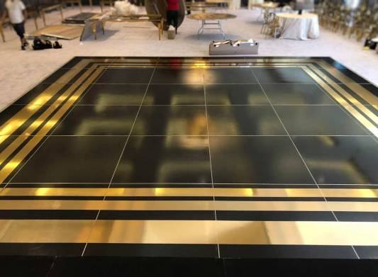 Gold and black dance floor